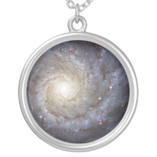 Spiral Galaxy Messier 74 NGC 628 Silver Plated Necklace
