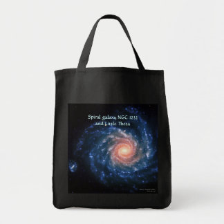 Spiral galaxy NGC 1232 and Little Theta Grocery Tote Bag