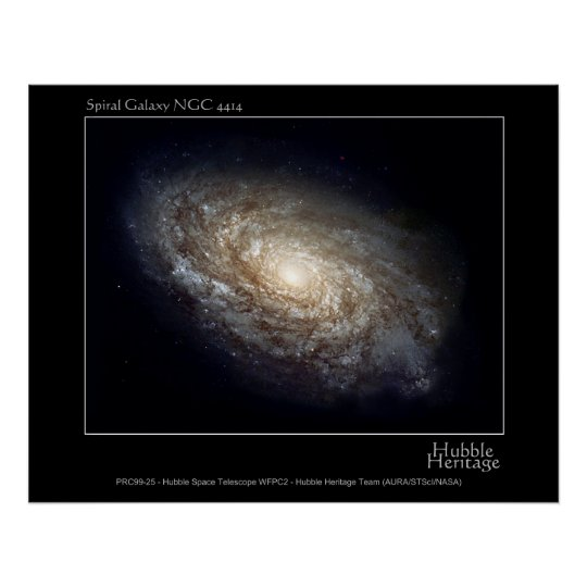 Spiral Galaxy NGC 4414 Hubble Telescope Photo Poster