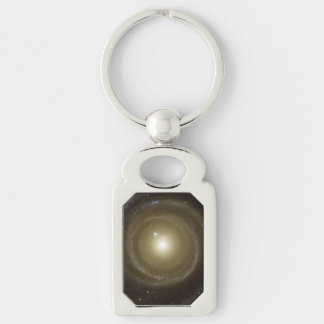 Spiral Galaxy NGC 4622 Spins Silver-Colored Rectangular Metal Keychain