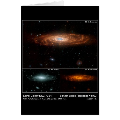 Spiral Galaxy NGC 7331 - – Spitzer Space Telescope Greeting Card