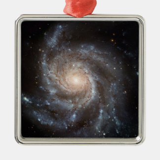 Spiral galaxy square metal christmas ornament