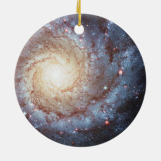 Spiral Galaxy Round Ceramic Ornament