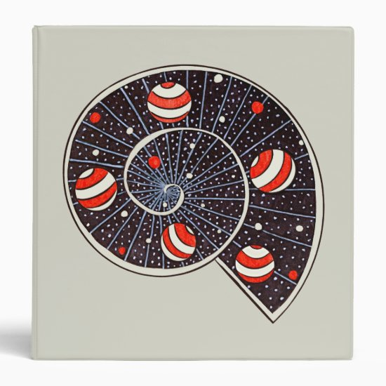 Spiral Galaxy Snail With Beach Ball Planets 3 Ring Binder