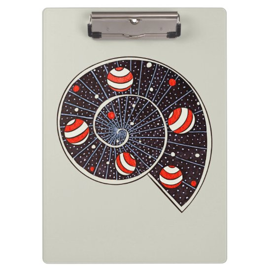 Spiral Galaxy Snail With Beach Ball Planets Clipboard