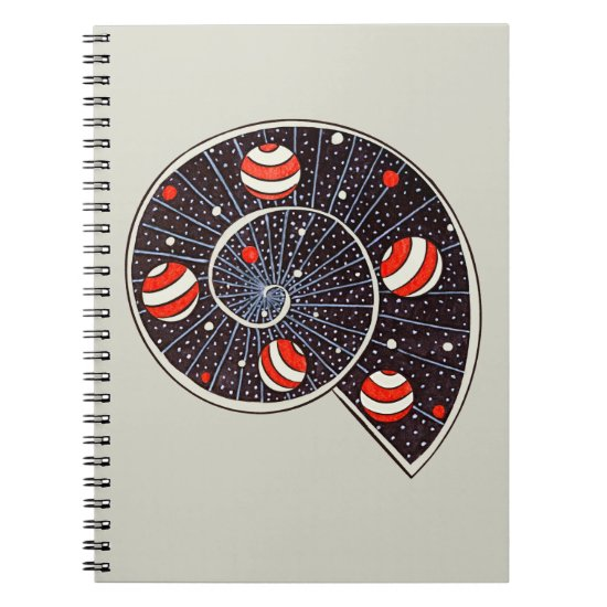 Spiral Galaxy Snail With Beach Ball Planets Notebook