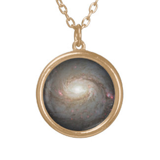Spiral Galaxy Space Black Hole Pattern Stars Night Gold Plated Necklace