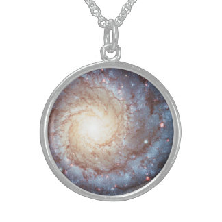 Spiral Galaxy Stars Messier 74 Space Photo Round Pendant Necklace