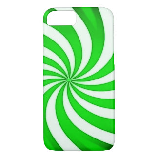 Spiral Green Candy Cane iPhone 7 Case