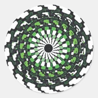 SPIRAL GREEN ROUND STICKER