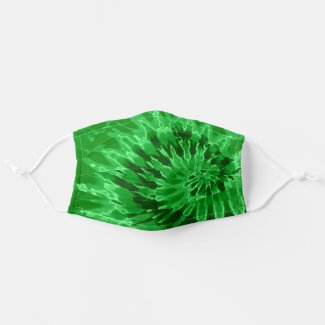 Spiral Green Tie Dye Cloth Face Mask