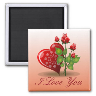 Spiral Heart and Red Rose 2 Inch Square Magnet