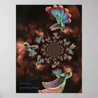 Spiral Hummingbird Poster