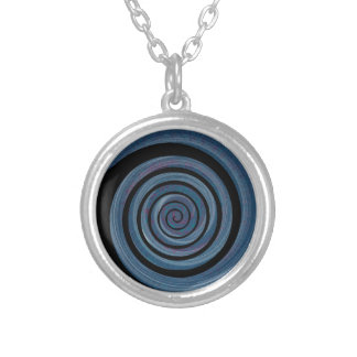 spiral ~ hypnotic silver plated necklace