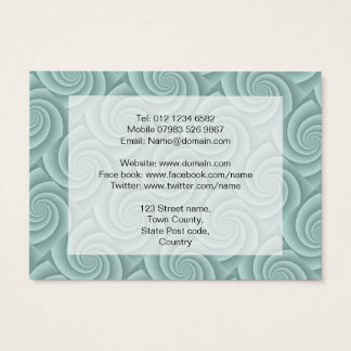 Spiral in Aqua Brushed Metal Texture Print Business Card