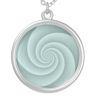 Spiral in Aqua Brushed Metal Texture Print Silver Plated Necklace