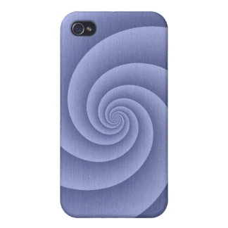 Spiral in Blue Brushed Metal Texture Print iPhone 4 Case