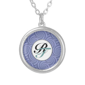 Spiral in Blue Brushed Metal Texture Print Silver Plated Necklace