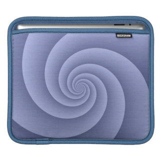 Spiral in Blue Brushed Metal Texture Print Sleeve For iPads