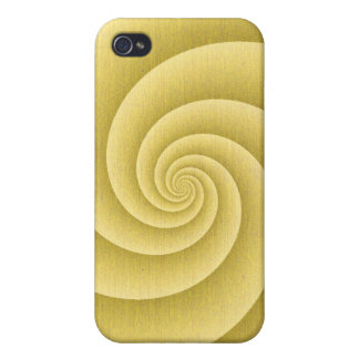 Spiral in Gold Brushed Metal Texture Print iPhone 4/4S Cover