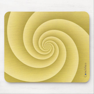 Spiral in Gold Brushed Metal Texture Print Mouse Pad