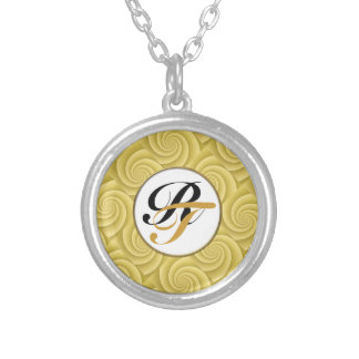Spiral in Gold Brushed Metal Texture Print Silver Plated Necklace