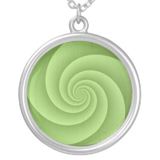 Spiral in Green Brushed Metal Texture Print Silver Plated Necklace