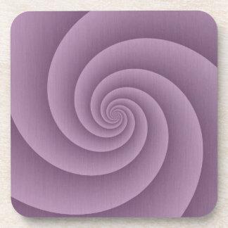 Spiral in Mauve Brushed Metal Texture Print Beverage Coaster