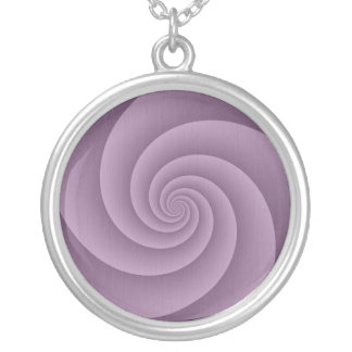 Spiral in Mauve Brushed Metal Texture Print Silver Plated Necklace