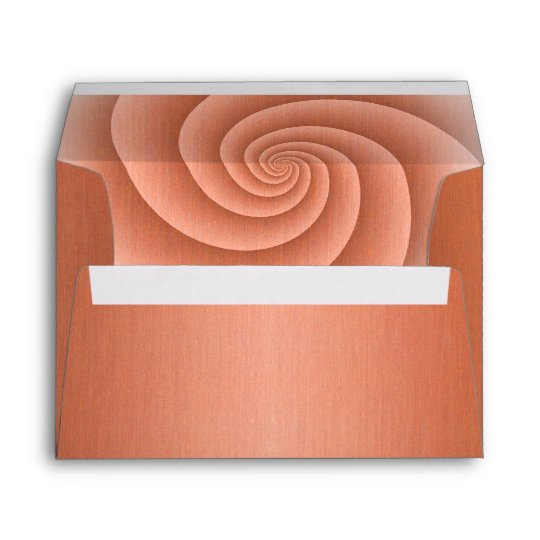 Spiral in Orange Brushed Metal Texture Print Envelope