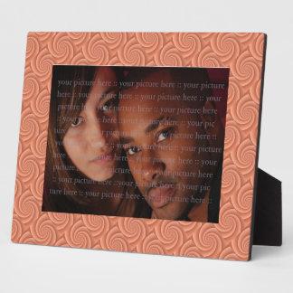 Spiral in Orange Brushed Metal Texture Print Plaque
