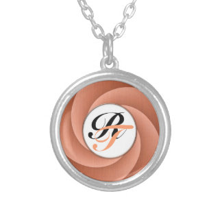 Spiral in Orange Brushed Metal Texture Print Silver Plated Necklace