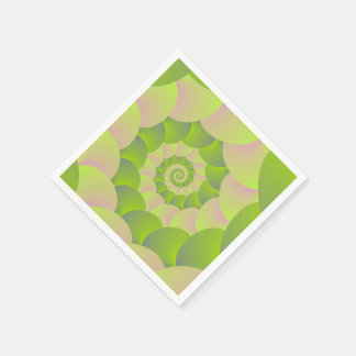 Spiral in Pink and Greens Paper Napkin