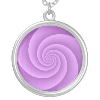 Spiral in pink Brushed Metal Texture Print Silver Plated Necklace