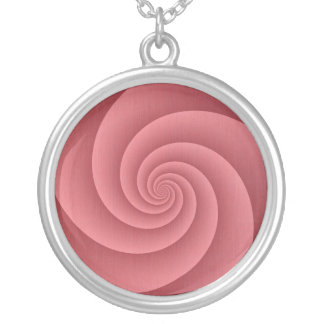 Spiral in PinkCoral Brushed Metal Texture Print Silver Plated Necklace