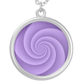 Spiral in Purple Brushed Metal Texture Print Silver Plated Necklace