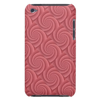 Spiral in Red Brushed Metal Texture Print Barely There iPod Case