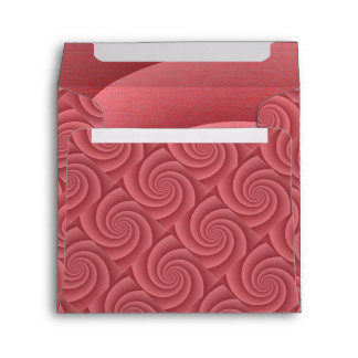Spiral in Red Brushed Metal Texture Print Envelope