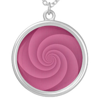 Spiral in RedWine Brushed Metal Texture Print Silver Plated Necklace