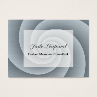 Spiral in Silver Brushed Metal Texture Print Business Card