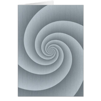 Spiral in Silver Brushed Metal Texture Print Card