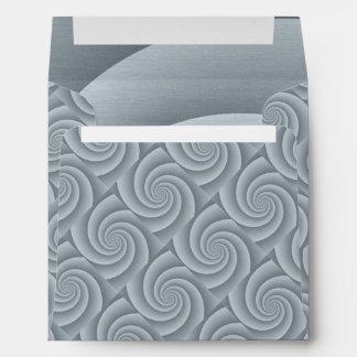 Spiral in Silver Brushed Metal Texture Print Envelope