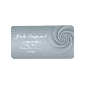 Spiral in Silver Brushed Metal Texture Print Label