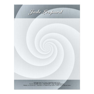 Spiral in Silver Brushed Metal Texture Print Letterhead