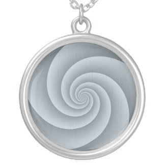 Spiral in Silver Brushed Metal Texture Print Silver Plated Necklace