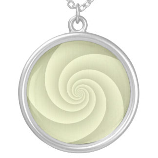 Spiral in Straw Brushed Metal Texture Print Silver Plated Necklace