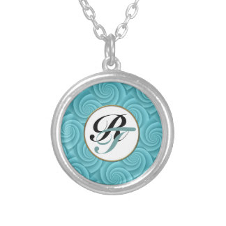 Spiral in Turquoise Brushed Metal Texture Print Silver Plated Necklace