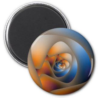 Spiral Labyrinth in Blue and Orange Doodle Magnet