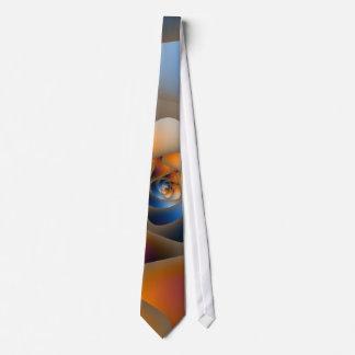 Spiral Labyrinth in Blue and Orange Tie