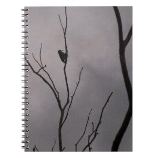 Spiral Notebook, a lonely woodpecker on branch Spiral Notebook